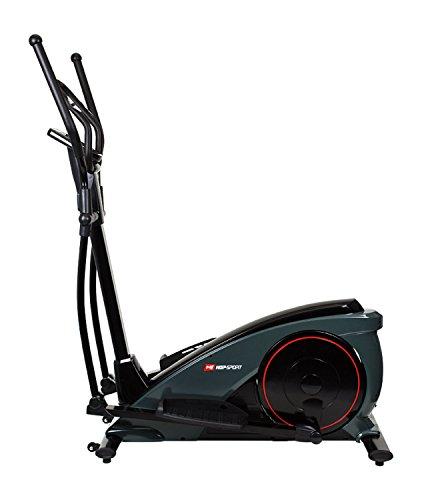 Hop-Sport Elliptical Crosstrainer BLAZE mit EMS Bremssystem Nordic Walking Stepper zwei Farben (schwarz-grau)